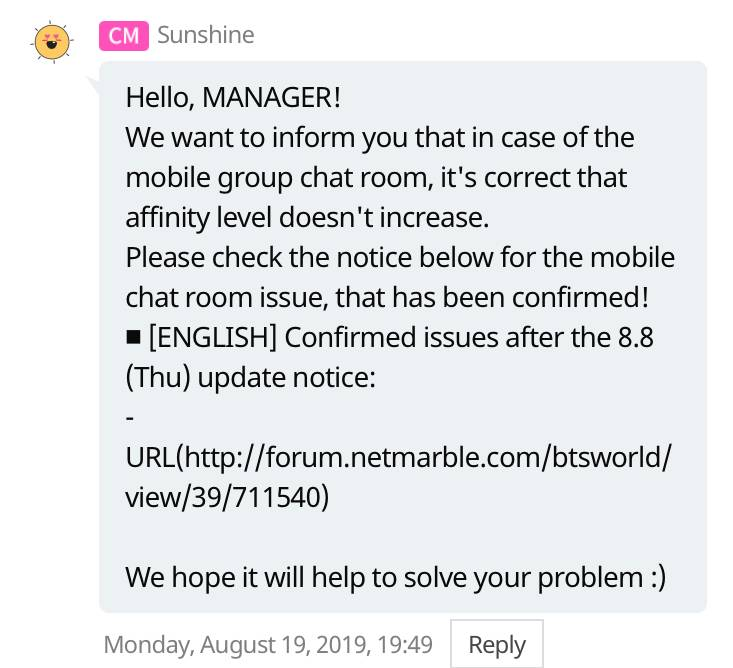 Why you are not getting Affinity in group chat - BTS WORLD